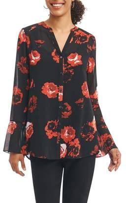 Foxcroft Ali in Rose Bell Sleeve Shirt