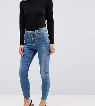 Asos RIDLEY High Waist Skinny Jeans With Seamed Split Front in Noelle Light Wash