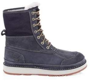 UGG Men's Suede& Leather Outdoor Shearling Boots - True Navy - Size 12