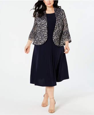 c5b4576101 Jessica Howard Plus Size Lace Ruffle-Sleeve Jacket   Dress