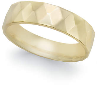 Macy's Geometric Textured Wedding Band in 18k Gold