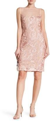 Marina Embroidered Lace Mesh Illusion Neck Dress