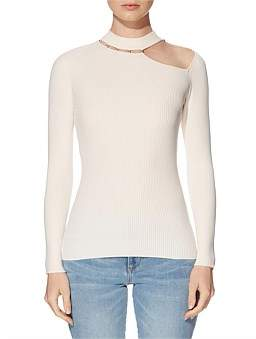 GUESS Holly Beaded Cut Out Sweater