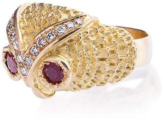 Leon Yvonne Gold Owl Diamond Ring