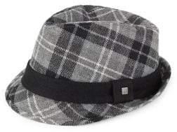 Block Headwear Plaid Wool Fedora