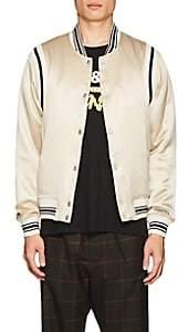 Ovadia & Sons Men's Silk Satin Varsity Jacket - Gray
