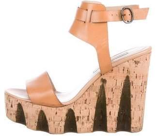 Diane von Furstenberg Leather Ankle Strap Wedges
