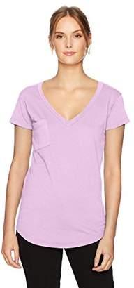 LAmade Women's Short Sleeve Relax Fit V-Neck Pocket Tee