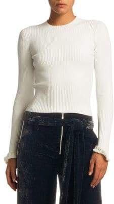 Proenza Schouler Cropped Rib-Knit Crewneck Sweater