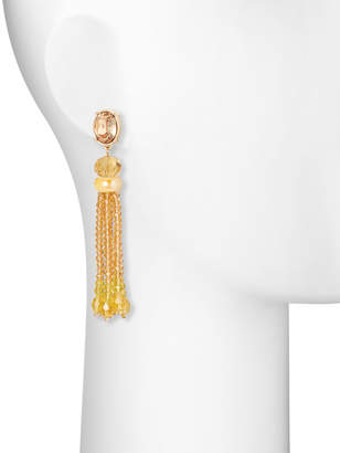 Lydell NYC Bead Tassel Drop Earrings, Yellow
