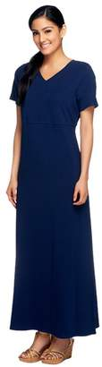 Denim & Co. Short Sleeve V-Neck Empire Waist Maxi Dress