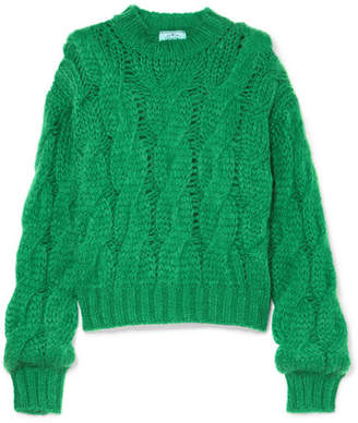 Prada Cable-knit Mohair-blend Sweater - Green