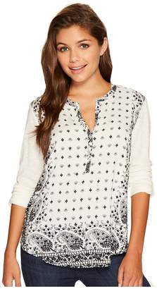 Lucky Brand Printed Henley Women's Long Sleeve Pullover