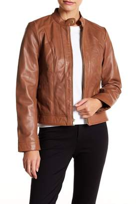 Cole Haan Front Zip Lamb Skin Leather Moto Jacket