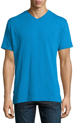 Robert Graham Short-Sleeve V-Neck Tee, Royal Blue $46 thestylecure.com