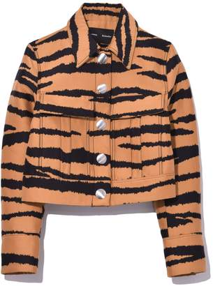 Proenza Schouler Single Breasted Short Jacket in Bronze/Black Tiger