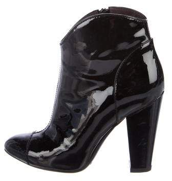 Burberry Patent Leather Semi Pointed-Toe Ankle Boots