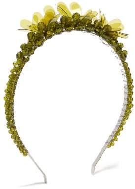 Simone Rocha Floral Crystal Bead Headband - Womens - Khaki
