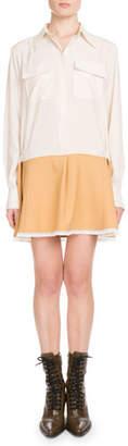 Chloé Long-Sleeve Button-Front Bicolor Lace-Hem Crepe de Chine Dress