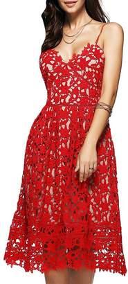 Dezzal Women's Elegant Spaghetti Straps Backless Crochet Lace Midi Dress (M, )