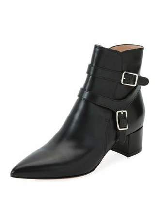 Gianvito Rossi Leather Booties with Belt Detail