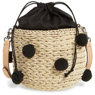 Rebecca Minkoff Straw Pom Pom Bucket Bag - Beige $195 thestylecure.com