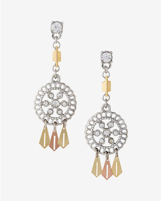 Express Two Tone Mini Filigree Post Back Drop Earrings $19.90 thestylecure.com