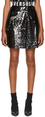 Versus Black Sequinned Elastic Waistband Miniskirt