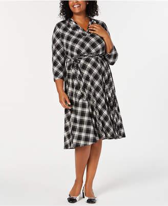 Charter Club Plus Size Plaid V-Neck Dress