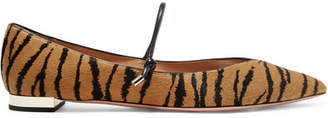 Aquazzura Tiger-print Calf Hair Point-toe Flats - Zebra print