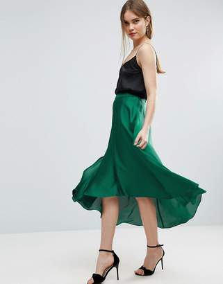 ASOS Midi Skirt in Satin with Splices $53 thestylecure.com