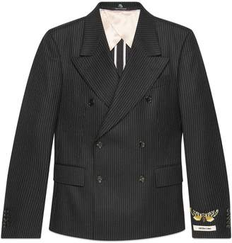 Gucci Embroidered striped wool jacket