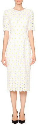 Dolce & Gabbana Macrame Embroidered-Daisy Sheath Dress, White/Yellow $4,295 thestylecure.com