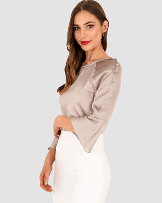 Forcast Azura Fluted Sleeve Blouse