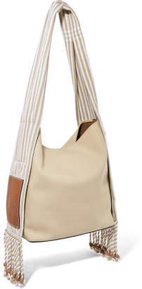 Loewe Paula's Ibiza Scarf Striped Cotton-canvas Shoulder Bag - Beige