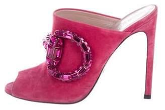 Gucci Maxime Embellished Slide Sandals Magenta Maxime Embellished Slide Sandals