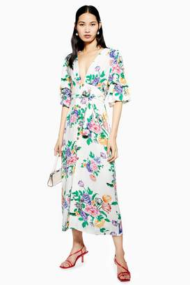 Topshop Womens Tall White Floral Print Plunge Midi Dress - White