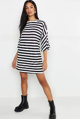 boohoo NEW Womens Tall Stripe T-Shirt Dress in Polyester