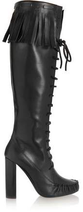 Tom Ford Fringed Leather Knee Boots