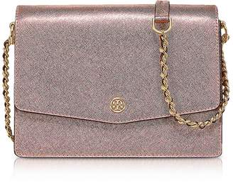 Tory Burch Metallic Light Rose Gold Robinson Metallic Convertible Shoulder Bag