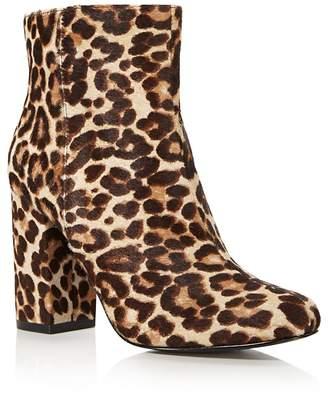 Charles David Studio Leopard Print Calf Hair Block Heel Booties