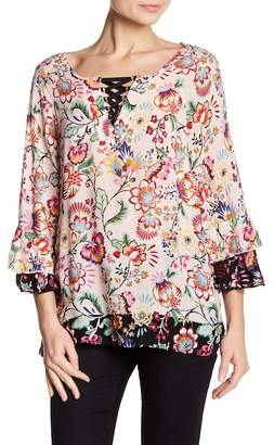 Democracy Lattice Neck Floral Blouse