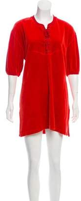 Sonia Rykiel Velvet Lace-Up Mini Dress