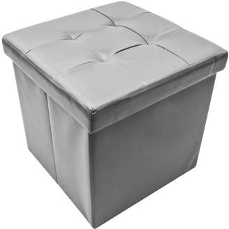 Sorbus Storage Ottoman - Collapsible/Folding Cube Ottoman with Cover-Perfect Hassock, Foot Stool, Seat, Coffee Table, Storage Chest, and more-Contemporary Faux leather (Gray)