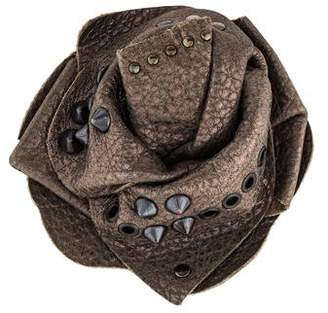 Brunello Cucinelli Studded Leather Rosette Brooch