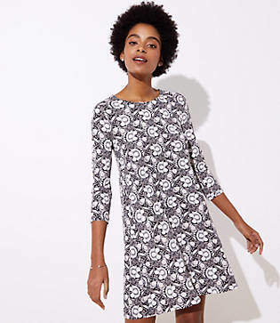 LOFT Floral 3/4 Sleeve Swing Dress