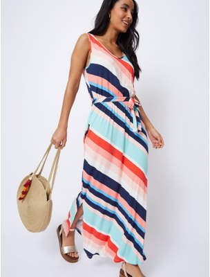 George Chevron Stripe Jersey Maxi Dress