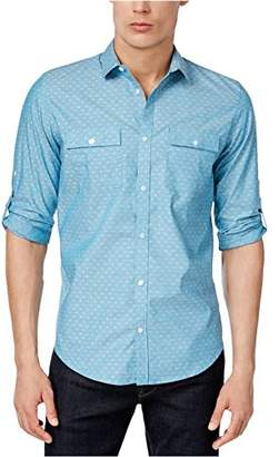 Calvin Klein Men's Long Sleeve Roll Tab Chambray Button Down Shirt