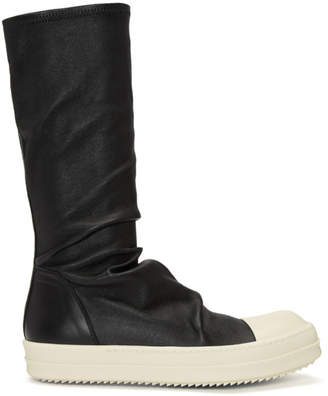 Rick Owens Black and White Leather Sock High-Top Sneakers