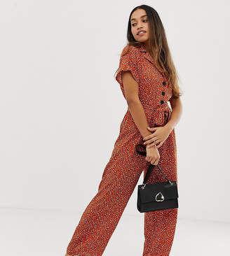 8b08e2371c17 Miss Selfridge Petite utility jumpsuit in animal print